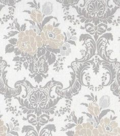 "Home Essentials 45"" Print Fabric-Tan/Gray Damask"