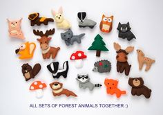 Felt forest animals