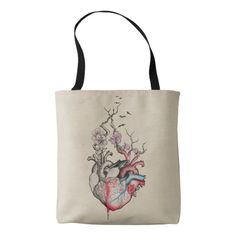 #Love #art merged #anatomical #hearts with flowers #totebag