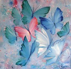 Butterfly Embroidery - Cross Stitch Source by Butterfly Painting, Butterfly Art, Butterfly Embroidery, Butterflies, Small Paintings, Original Paintings, Learn To Paint, Painting Techniques, Art Tutorials