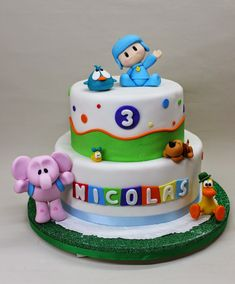 Pocoyo Cake by Violeta Glace 1st Boy Birthday, 3rd Birthday Parties, Birthday Cake, Fondant Baby, Fondant Figures, Cakes For Boys, Baby Shower Cakes, Rice Krispies, Yummy Cakes