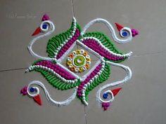 Very unique peacock rangoli design by DEEPIKA PANT - YouTube