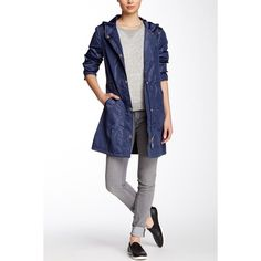 Ellen Tracy Snap Front Packable Raincoat found on Polyvore featuring polyvore, fashion, clothing, outerwear, coats, cadet blue, ellen tracy coats, ellen tracy raincoat, hooded raincoat and ellen tracy
