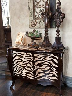 just add bling, and thats a winner~Donna Moss Animal Print Furniture, Animal Print Decor, Animal Prints, Tuscan Decorating, Interior Decorating, Interior Design, Funky Furniture, Painted Furniture, Furniture Ideas