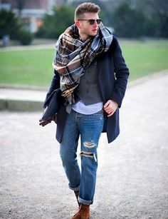 21 Winter Men Outfits With Plaid Scarves