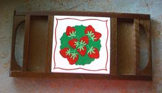 Vintage Serving Tray Strawberries Wood Snack Buffet by TheBackShak