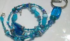 Blue glass beaded Lanyard AKA badge holder / by Obsidianrain ---- LOVE THIS!
