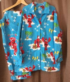 Nick   Nora XXL Flannel Pajama Set Lobster Santa Claws 2 Piece 2X Palm Tree    dbac36e17