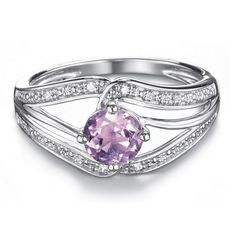 """Sterling silver open CZ embellished textured ring with round genuine 3/4 ct. Amethyst center stone. Imported. STERLING SILVER is the standard for fine silver jewelry in the world over. Only Sterling Silver can be stamped with a """"fineness mark"""" of .925 indicating its high quality."""