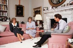 Princess Diana In Her Sitting Room At Kensington Palace Having A Planning Meeting About Forthcoming Engagements With Her Equerry Richard Aylard And Her Lady-in-waiting Anne Beckwith-smith.