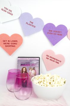 DIY Mean Girls Conversation Hearts Banner (and how to use Cricut Iron On Vinyl! Girls Party Decorations, Party Themes, Party Ideas, Mean Girls Party, 2000s Party, Cricut Iron On Vinyl, Conversation Hearts Candy, How To Use Cricut, Diy Banner
