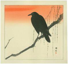 Okuhara Seiko: Crow on a Willow Branch with Orange Sky (1930s)