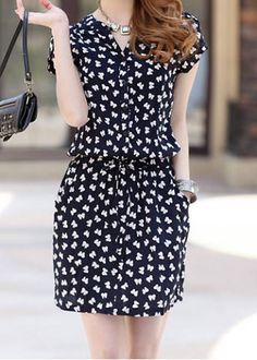 Single Breasted Casual V-Neck Bow Tie Pattern Short Sleeve Women's Dress Casual Dresses | RoseGal.com Mobile