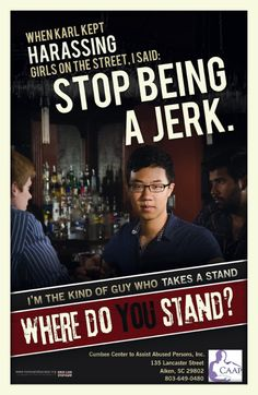 Poster by Men Can Stop Rape for Cumbee Center to Assist Abused Persons