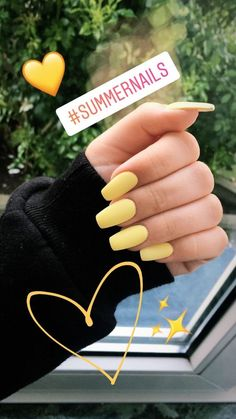 34 Trendy Summer Nails Designs That Are So Perfect for 2019 Summer Nails Ongles brillants Ongles tropicaux Designs Acrylic Nails Yellow, Best Acrylic Nails, Acrylic Spring Nails, Yellow Nail Polish, Acrylic Nail Shapes, Acrylic Nails Coffin Short, Gel Polish Colors, Metallic Nails, Pink Acrylics