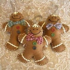 Felt Gingerbread Man Christmas Ornaments by catrulz
