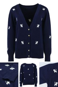 Royalblue Embroidery Cat Pattern V Neck Button Detail Cardigan
