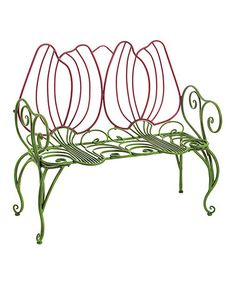 Look at this #zulilyfind! Red & Green Stem Tulip Indoor/Outdoor Bench #zulilyfinds