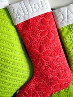Longarm quilted Christmas Stockings by Sew Kind of Wonderful, via Flickr