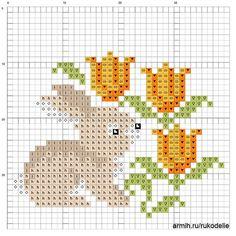 Lapin aux tulipes - points comptés