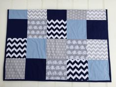 Patchwork cot quilt in Navy Blue Baby Blue & Grey by Danoah