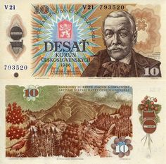 Czechoslovakia 10 Korun Banknote World Money Currency Europe Bill 1986 Note German East Africa, West Africa, African States, Commemorative Coins, First Day Covers, World Coins, Bratislava, Vintage World Maps, Childhood