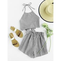 SheIn(sheinside) Striped Bow Open Back And Shorts Set (91 DKK) ❤ liked on Polyvore featuring black and white and sexy two piece