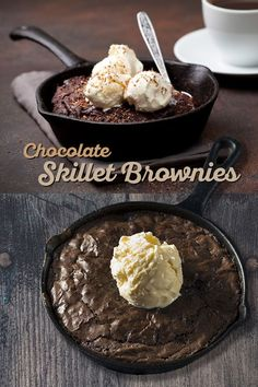 This easy cast iron skillet brownies recipe for fo Cast Iron Skillet Cooking, Iron Skillet Recipes, Cast Iron Recipes, Cooking With Cast Iron, Cooking For Four, Cooking Tips, Köstliche Desserts, Delicious Desserts, Dessert Recipes