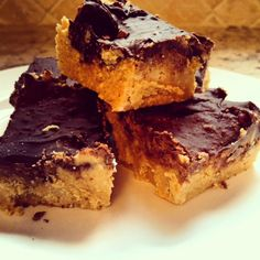 Lightened up Chocolate Peanut Butter Bars (this is NO JOKE!) | Lauren Kelly Nutrition
