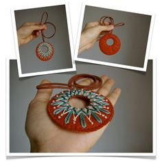 October's Offer // Wool Felt Statement Necklace // Hand Embroidered // LoftFullOfGoodies