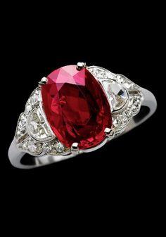 An Art Deco platinum, diamond and Burmese ruby ring, circa 1920. #ArtDeco
