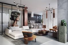 An Alluring Apartment Full Of Playful Monkeys And Copper Accents (Interior Design Ideas) Apartment Interior Design, Interior Exterior, Decor Interior Design, Modern Interior, Room Interior, Luxury Home Decor, Cheap Home Decor, Luxury Homes, Design Living Room