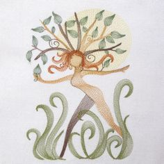 NATURE SPRINGS NYMPH 5X7-nature tree leaves embroidery design, fantasy nymph nature tree embroidery designs, tree leaves embroidery , Spring...