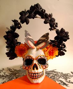 Day of the Dead Skull with Butterfly & Flowers by sewhard on Etsy, $65.00