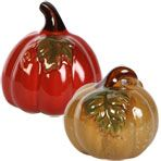 """Glazed Ceramic Pumpkins, 4"""" Comes in 5 different colors including white, red, green, gold and a kind of brindle."""