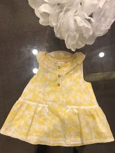 c1816d24ad0b Savannah Boutique Baby Girl Yellow Dress Pearl Button size 6-9 months NO  RESERVE