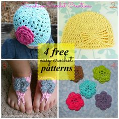 {4 free} Easy Crochet Patterns from great designers. www.sunshinecrochetcreations.blogspot.com   #crochet # free #patterns #SunshineCrochetCreations #handmade