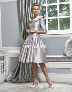 Silver Wedding Mother of the Bride Dresses Knee Length Scoop Ruffles Satin Half Sleeves 2016 Vintage Women Formal Party Gowns Evening Dress Online with $87.08/Piece on Sweet-life's Store | DHgate.com