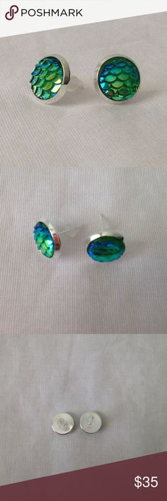 CLEARANCEMermaid Scale Earrings Blue/Green Mermaid Scale Earrings! Super cute and fun! A little smaller than a dime! Jewelry Earrings