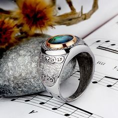 925 Sterling Silver Men's Ring with Natural Blue Abalone - J F M