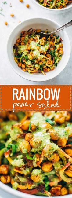 Rainbow Power Salad with Roasted Chickpeas - a healthy, easy, colorful salad! SO YUMMY.   pinchofyum.com