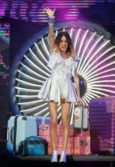 Martina Stoessel performs as Violetta during a concert as part of Violetta Farewell Tour at Tecnopolis on April 2015 in Buenos Aires, Argentina. Martina Stoessel will give five shows in Buenos. Violetta And Leon, Violetta Live, Violetta Outfits, Netflix Kids, Disney Channel Shows, Slim Body, Celebs, Celebrities, Types Of Fashion Styles