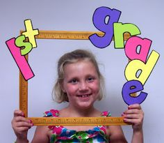 like this frame made of rulers for kids' pictures.