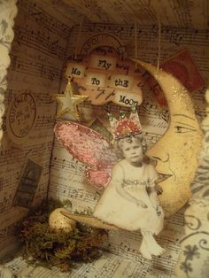 moon ride inspiration saved by Lori Houchin to journaling ~ Altered Tins, Mixed Media Collage, Collage Art, Paper Dolls, Art Dolls, Shabby Vintage, Paper Art, Paper Crafts, Fairies