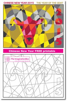 Celebrate Chinese New Year 2015 with this delightful 'modern art hidden goat' free printable. It's a challenging coloring activity for all age groups and great for exploring color palettes and shape