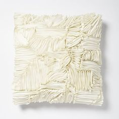 Ruffle Ribbon Pillow Cover - Ivory | west elm