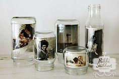 Decorações lindas feitas com latas, vidros e garrafas.