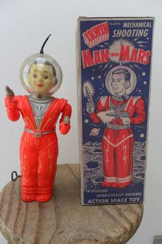 IRWIN Rare Mechanical Space Man from Mars Robot Irwin Made in Canada 1950's + New Repro Box
