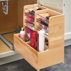 Vanity Base Pull Out Drawer is part of Diy kitchen storage Conveniently store items while maximizing your under sink vanity space with RevAShelf's 441 Lshaped organizers Designed for vanity sink - Interior Design Kitchen, Home Design, Interior Design Living Room, Kitchen Designs, Coastal Interior, Bathroom Storage, Kitchen Storage, Bathroom Organization, Bathroom Ideas