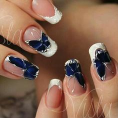 Nails Fake French Art Designs 30 New Ideas Butterfly Nail Designs, Butterfly Nail Art, Nail Art Designs, Blue Butterfly, Nails Design, Fabulous Nails, Gorgeous Nails, Pretty Nails, Beautiful Nail Designs